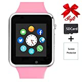 Smart Watch,Unlocked Touchscreen Smartwatch Compatible with Bluetooth/Android/IOS (Partial Functions) Call and Text Camera Notification Music Player Wrist Watch for Women Girls Men(Pink)