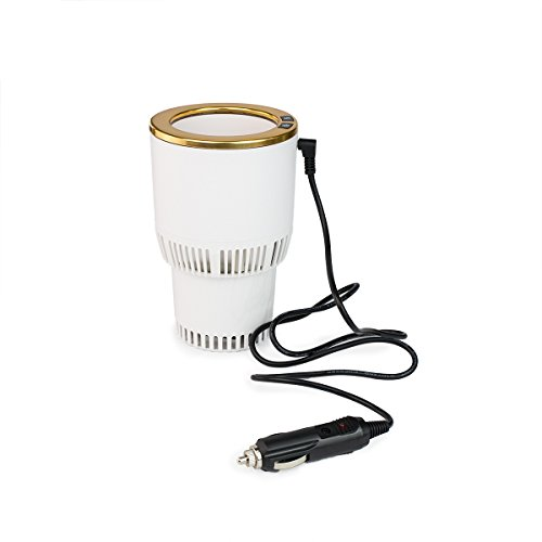Smart Car Cup Drink Keep Coffee Warmer & Cooler Auto Electric Multi function 2 in 1, Auto drink Electric Car Cup Holder Keeps Your Drink Cool/Warm, Cooling Beverage and Heating Coffee (White and Gold)