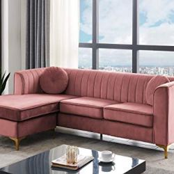 Iconic Home Brasilia Modular Chaise Sectional Sofa Velvet Upholstered Vertical Channel Quilted Seat Back Solid Gold Tone Metal Y-Legs with 2 Throw Pillows Modern Contemporary, Blush
