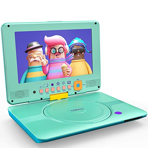 COOAU Portable DVD Player Upgraded 12' with HD 9.5' Swivel Screen, Support All Region & Full DVD Format Discs, 1080P Video Files. Front Control Button and IR Signal, Battery Indicator, Powder Blue