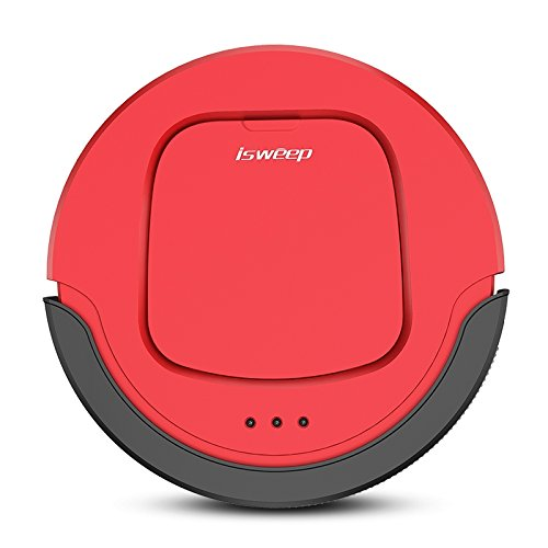 isweep Robot Vacuum Cleaner JWS-S550 Wet Mopping Remote Control Self Recharging Virtual Wall Anti-collision System Schedule Cleaning Plan Timing with US Adapter (Red)
