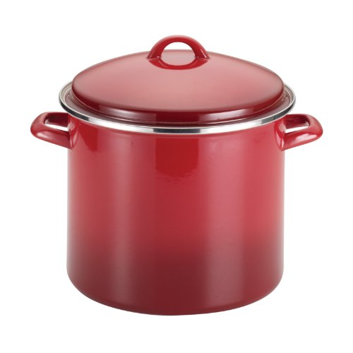 Rachael Ray Enamel on Steel 12-Quart Covered Stockpot, Red Gradient