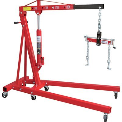 Strongway Hydraulic Engine Hoist with Load Leveler - 2-Ton Capacity, 1in.-82 5/8in. Lift Range