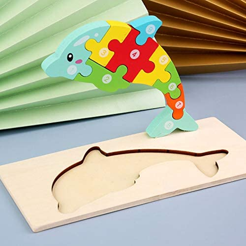 MODERNGENIC Wooden 'Dolphin' 3D Jigsaw Puzzle for Kids, Animal Number Block Puzzles for Toddlers, Educational Learning Montessori Toys for Boys and Girls (Dolphin)