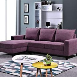 Container Furniture Direct Pamila Modern Upholstered Left Facing Sectional Sofa, 93.5″, Purple