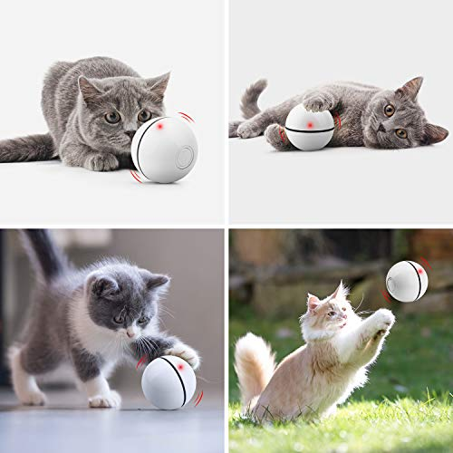 Unzano Interactive Cat Toys for Indoor Cats with Built-in Red Led Light, USB Rechargeable, Auto Twists and Turns Cat Ball Toy & Chasers to Encourage Your Pet's Exercise, Chasing & Hunting Ability