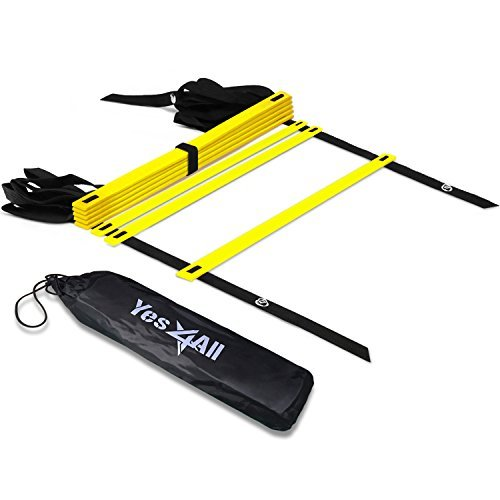 Yes4All Agility Ladder - Speed Agility Training Ladder with Carry Bag - 8 Rung (Yellow) - SGQV