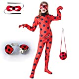 Kids Girl Ladybug Costume - Red Ladybird Little Beetle Suit Jumpsuit Halloween Party Cosplay for Women Adult Toddler Child