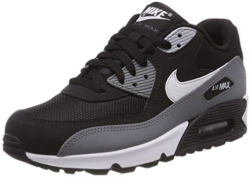 premium selection b4f46 32515 Nike Mens Air Max 90 Essential Leather Synthetic Black White Cool Grey  Trainers 11 US