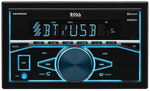 BOSS Audio Elite 480BRGB Double Din, Bluetooth, MP3 USB AM/FM Receiver, Multi Color RGB Illumination, Wireless Remote (No CD/DVD Player)