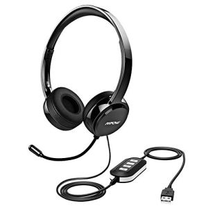 Mpow 071 USB Headset/ 3.5mm Computer Headset with Microphone Noise Cancelling, Lightweight PC Headset Wired Headphones…