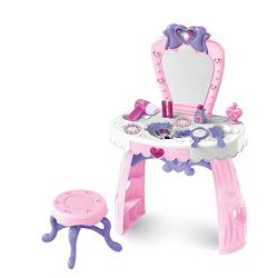 Vanity Toy for Little Girls | Toddler Fantasy Vanity Beauty Dresser Table Play Set with Lights Sounds Chair Pretend Makeup Accessories Toys (from USA, Pink)