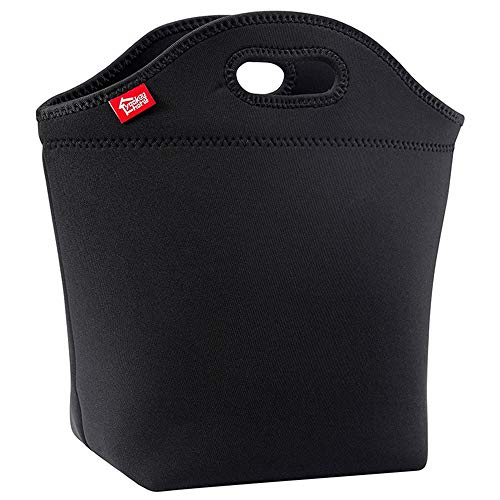 Large Black Neoprene Lunch Bag for Adults, Yookeehome 13.5' x 13' x 5.5' Thick Insulated Big Lunch Tote Box Thermal Reusable Unisex Lunch bag for Men Women Great for Work Office Outdoors Travel