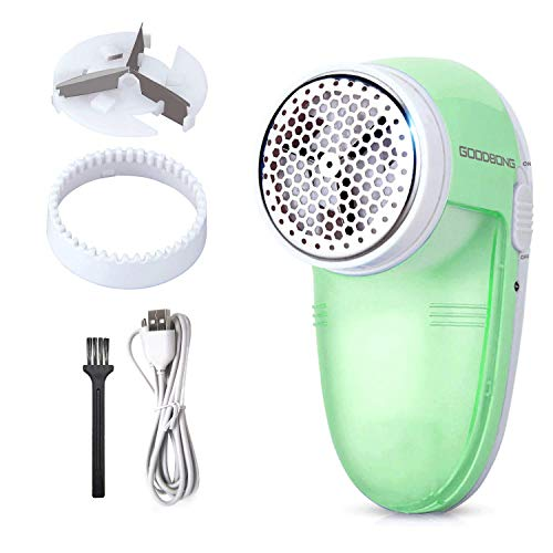 Electric USB Lint Remover, GOODBONG Sweater Fabric Clothes Shaver Kit for Clothes Lint Bobbles, Lint Shaver for Couch Fluff Balls, Fluff Remover Portable USB Rechargeable (Green)