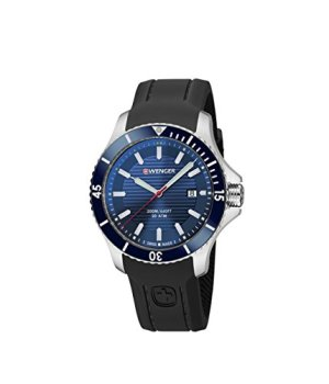 Wenger Men's Seaforce Stainless-Steel Swiss-Quartz Watch with Silicone Strap, Black, 22 (Model: 01.0641.119)