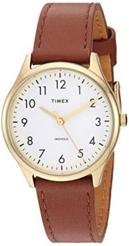 Timex Women's Modern Easy Reader 32mm Analog Quartz Leather Strap, Brown, 16 Casual Watch (Model: TW2T723009J)