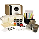 JustHoppi Complete DIY Candle Making Kit Supplies - Create 6 Scented & Colored Soy Candles - Full Beginners Set with 3 LB Wax, Tins, Unique Scents/Dyes, Wicks, Glue Dots, Melting Pitcher & Thermometer