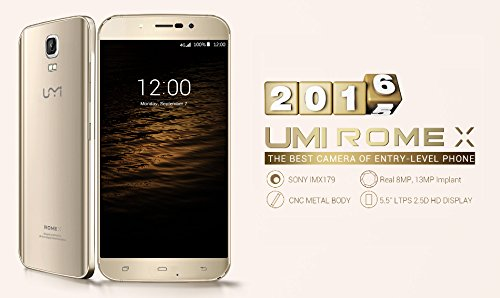 UMI Rome X Unlocked 3G Android 5.1 Cell Phone 1280 X 720P HD MT6580 Quad Core 1G RAM 8G ROM 13.0MP GSM WCDMA (Gold)