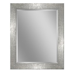 Headwest 8018 Driftwood Wall Mirror in Chrome and White, Chrome & White