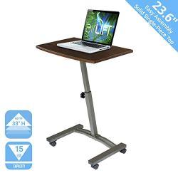 Seville Classics 23.6″ Solid-Top Height Adjustable Mobile Laptop Desk Cart Ergonomic Table, Walnut