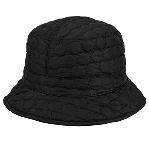 Foldable Water Repellent Quilted Rain Hat w/ Adjustable Drawstring, Bucket Cap - Jet Black