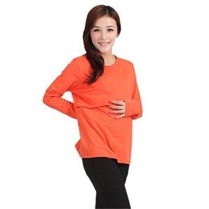 Pregnancy - Pregnant-T-Shirt-Kaifongfu-Long-sleeve-Maternity-Clothes-Nursing-Tops-Breastfeeding-Vest-T-Shirt-L-Orange