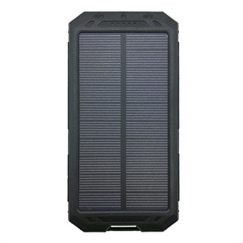 Kanzd New DIY Waterproof 300000mAh Power Bank 2 USB Solar Charger Case with LED No Battery (A)