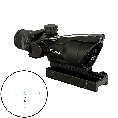 ohhunt 4x32 Hunting RifleScopes Red or Green Illuminated Chevron Glass Etched Reticle Real Fiber Optics Tactical Optical Sights Scope (Click to select Black Green Illuminated)