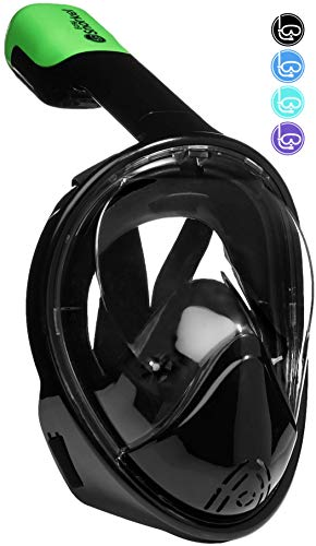 PRODIGY Full Face Snorkel Mask Adult Kids - 180° Panoramic Snorkeling Masks Gear for Adults and Youth - Easy Breathing SWIMTECH Dry Top Set, Anti-Leak&Anti-Fog- (Black, No Camera Mount-L/XL)