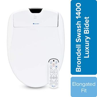 Brondell Swash 1400 Luxury Bidet Toilet Seat, Fits Elongated Toilets, White - Bidet - Dual Stainless-Steel Nozzles with Sterilization, Warm Air Dryer, Ambient Nightlight