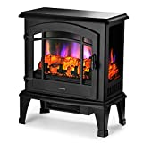 TURBRO Suburbs 23' 1400W Electric Fireplace Stove, CSA Certified Freestanding Heater with Brightness Adjustable Realistic Log Flame Effect, Black