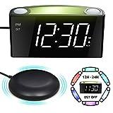 Mesqool Loud Alarm Clock Bed Shaker, Powerful Vibrating for Heavy Sleepers, Deaf, Hearing-Impaired, Kid Bedroom, 7-Color Nightlight, Large Digital Display, Full Range Dimmer, 12/24, 2 USB Port Charger