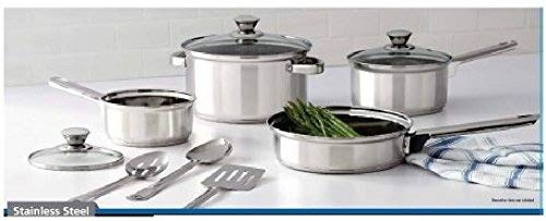10 Piece Nonstick Cookware Set, Stainless Steel, Includes Saucepans, Frying Pan, Dutch Oven, Glass Lids, Serving Spoons and Slotted Spatula, for Home, Kitchen or Restaurant, Silver