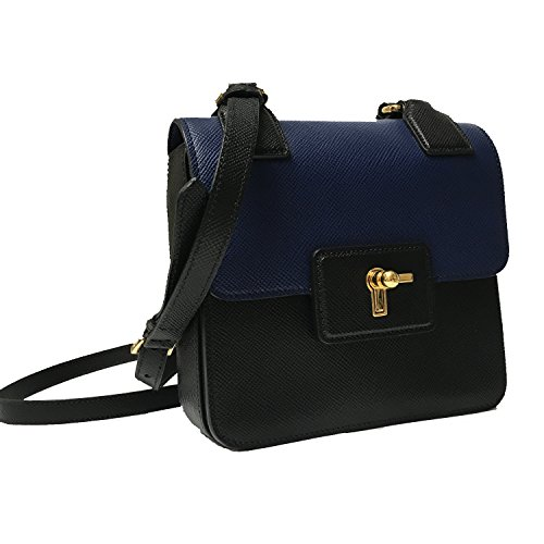 Prada Saffiano Cuir Pattina Blue   Black Leather Shoulder Bag BT1015 ... 85da90760eb19