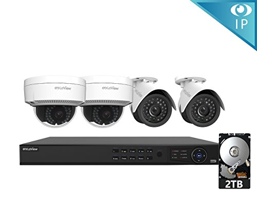 LaView 4 1080P IP Camera Security System, 8 Channel 1080P IP PoE NVR w/2TB HDD and 2 White Bullet & 2 White Dome 1080P 2MP Surveillance Camera Kit