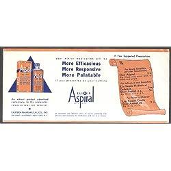 Eastern Pharmacal Elixir Aspiral for Tonsillitis Flu Fever blotter 1930s