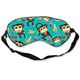YINLAN Relieve Eye Stress Natural Silk Eye Mask, Super Smooth Comfortable Adjustable Sleep Mask Eye Cover, Men Women Kids Shift Work Naps Travel Eyeshade, Monkey Love Banana Blindfold
