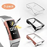 3 Pack Compatible with Fit bit Charge 3 Screen Protector,Valband Ultra Slim Soft Full Cover Case [Scratch-Proof] Bumper for Fit bit Charge 3 and Fit bit Charge 3 SE (Clear,Black,Rose Gold)