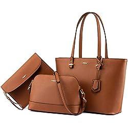Handbags for Women Shoulder Bags Tote Satchel Hobo 3pcs Purse Set Brown