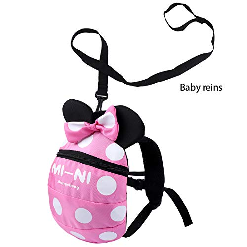 Backpack Anti Lost Baby Toddler Walking Safety Backpack Little Kids Anti-Lost Travel Bag Harness Reins Cute Backpacks with Safety Leash for Baby Toddler Leash for Toddlers Age 1-5 Years (Pink)