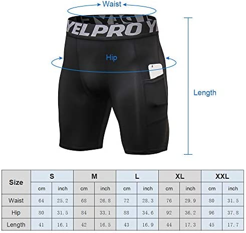 Lixada Men's Compression Shorts Pants Sports Baselayer Tights Active Workout Underwear Leggings with Pockets 7