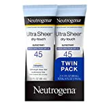 Neutrogena Ultra Sheer Dry-Touch Water Resistant and Non-Greasy Sunscreen Lotion with Broad Spectrum SPF 45, Oxybenzone Free, TSA-Compliant travel Size, 3 fl. oz, Pack of 2