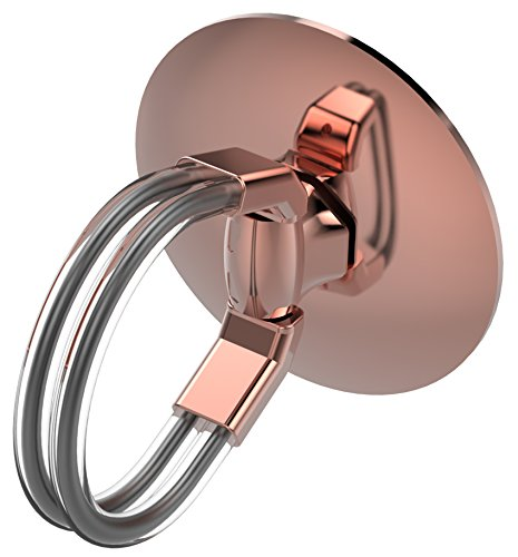 Aduro Cell Phone Ring Holder, 3 in 1 Universal Phone Ring Stand Car Holder, Finger Grip Phone Holder for iPhone, Samsung Phone and Smartphones (Rose Gold)