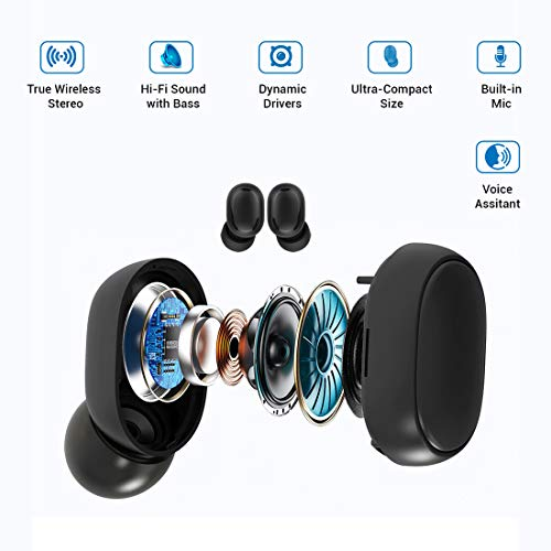 PTron Bassbuds Pro in-Ear True Wireless Bluetooth Headphones (TWS) with Mic - (Black) 8