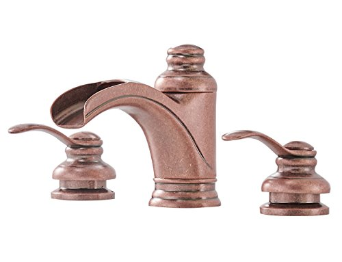 Greenspring Copper Commercial Waterfall 8-16 Inch 3 Holes Dual Handle Widespread Bathroom Sink Faucet