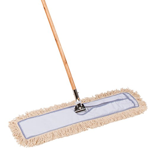 Tidy Tools 30 Inch Commercial Strength Cotton Dust Mop with Solid Wood Handle and Metal Frame. 30'' X 5'' Wide Mop Head with Cut Ends - Hardwood Floor Broom
