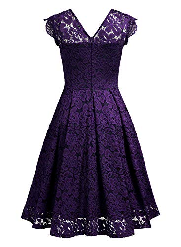 MISSMAY Women's Vintage Floral Lace Short Sleeve V Neck Cocktail Formal Swing Dress 3 Fashion Online Shop gifts for her gifts for him womens full figure