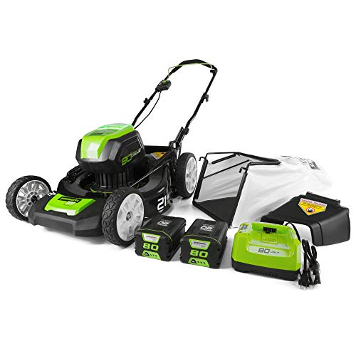 Greenworks PRO 21-Inch 80V Cordless Lawn Mower, Two 2.0AH Batteries Included GLM801601 (Renewed)