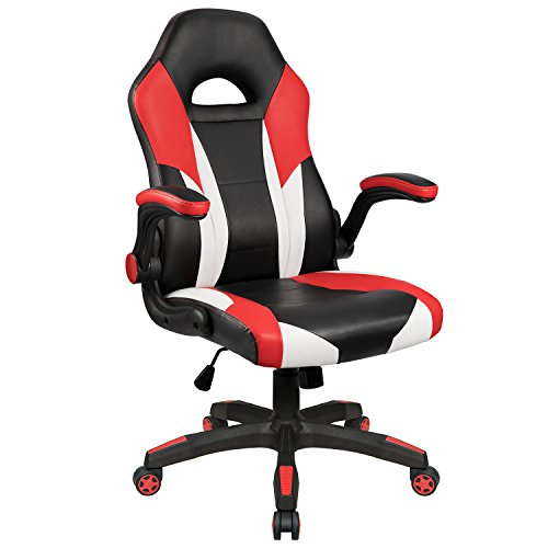 Homall Gaming Chair Racing Chair Ergonomic Computer Chair High Back Office Chair PU Leather Desk Chair Executive Swivel Task Chair with Wide Seat Flip Up Padded Armrests (Red)