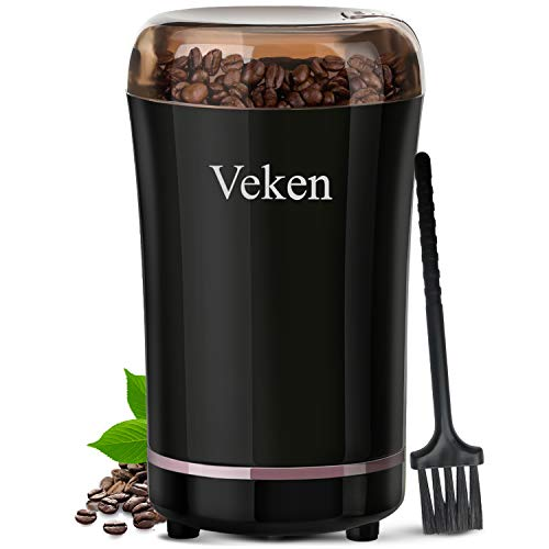 Veken Coffee Grinder Electric Spice & Nut Grinder with Stainless Steel Blade, Detachable Power Cord Coffee Bean Grinder for Coffee Grounds, Grains, 12 Cups